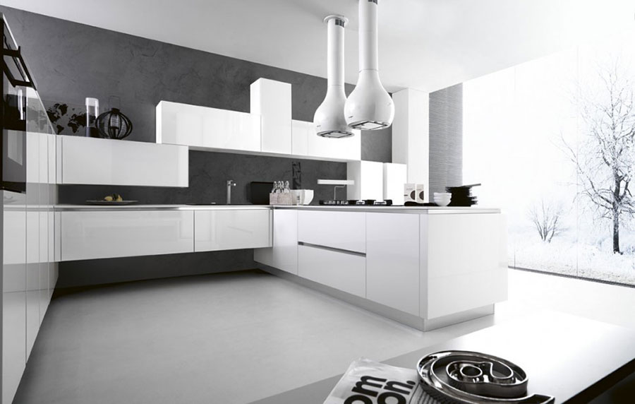 Modern white kitchen model with peninsula n.03
