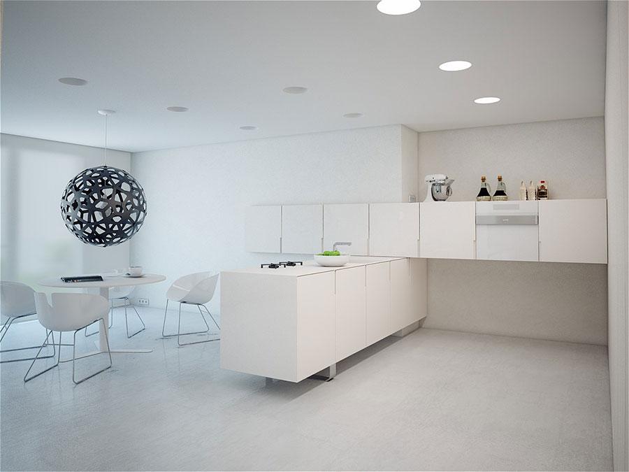 Modern white kitchen model with peninsula n.01