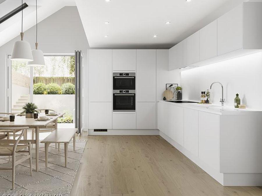 Linear Modern White Kitchen Template # 03