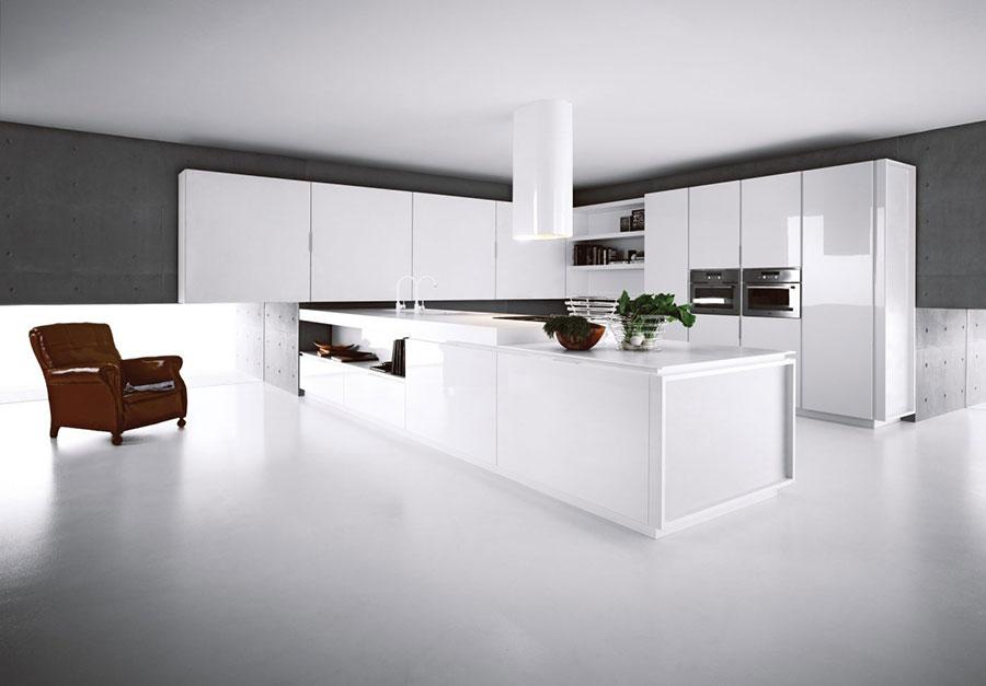 Modern white kitchen model with peninsula n.02