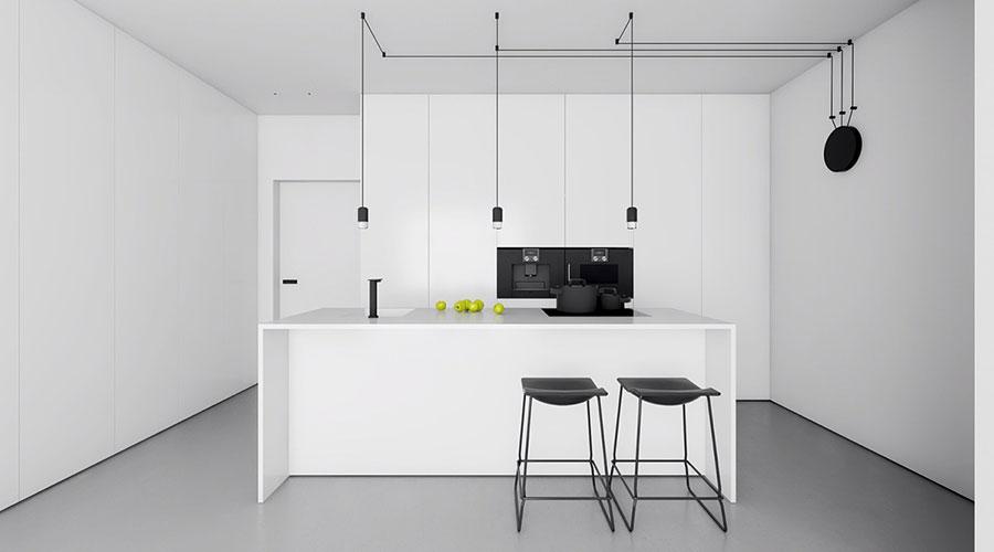Modern white kitchen model with island # 01