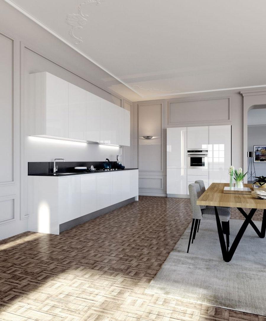 Linear Modern White Kitchen Template # 05