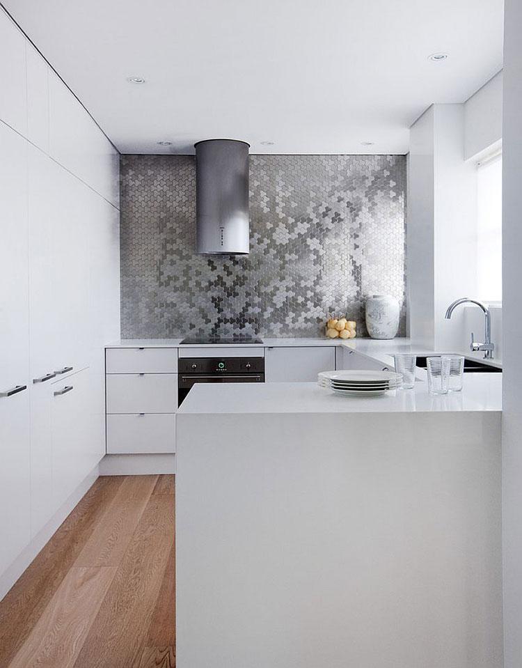 Modern white kitchen model with peninsula n.04