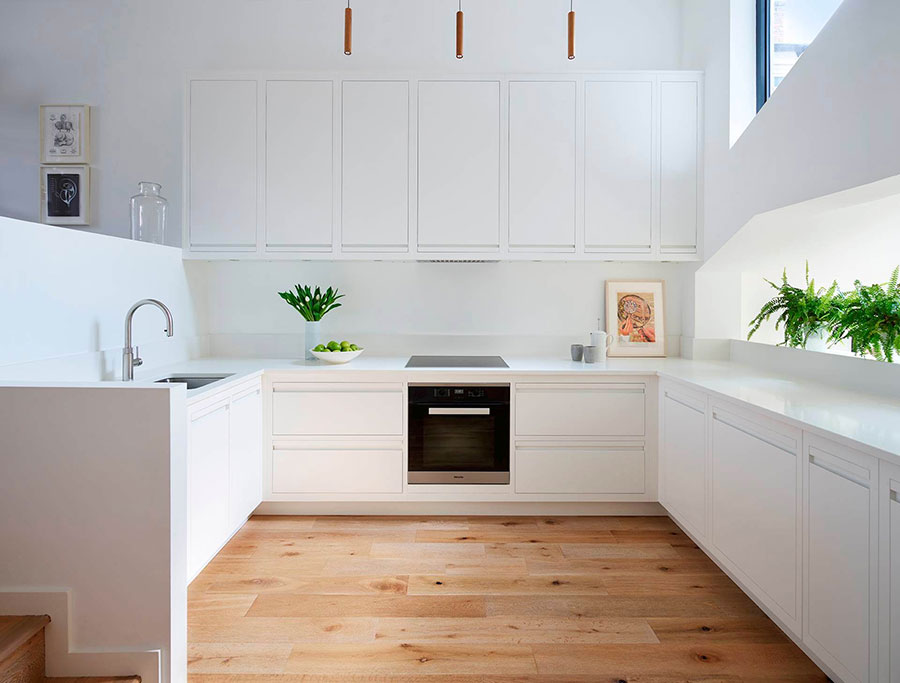 U Shape Modern White Kitchen Model # 01
