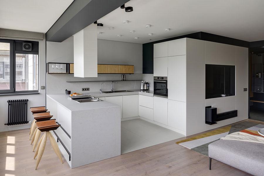 U Shape Modern White Kitchen Model No. 02