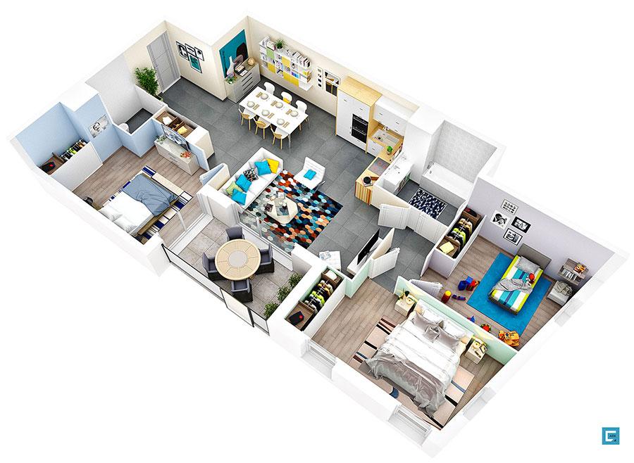 House plan 100 sqm with rectangular plan n.02
