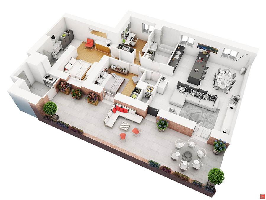 House plan 100 sqm with rectangular plan n.03