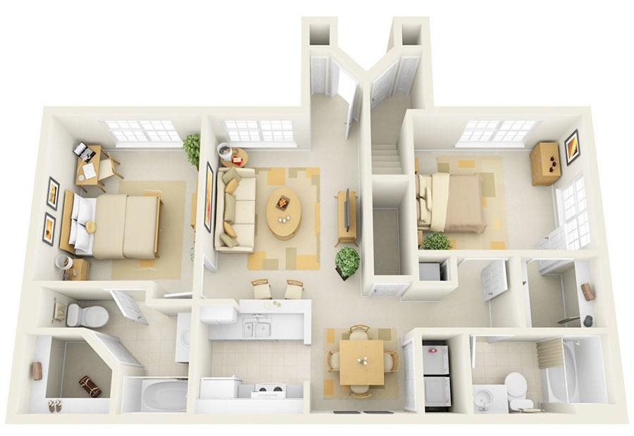 House plan 100 sqm with rectangular plan n.05