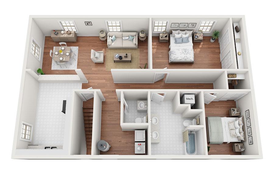 House plan 100 sqm with rectangular plan n.04