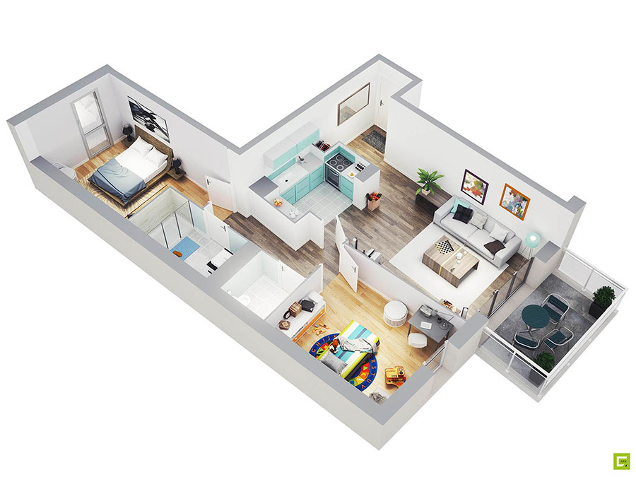 House plan 100 sqm with plan on one floor n.04