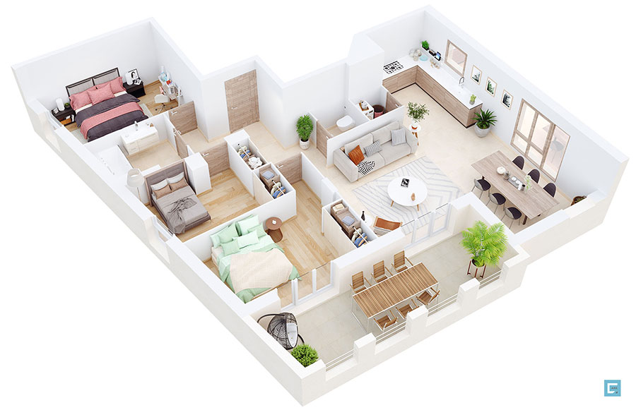 House plan 100 sqm with plan on one floor n.03