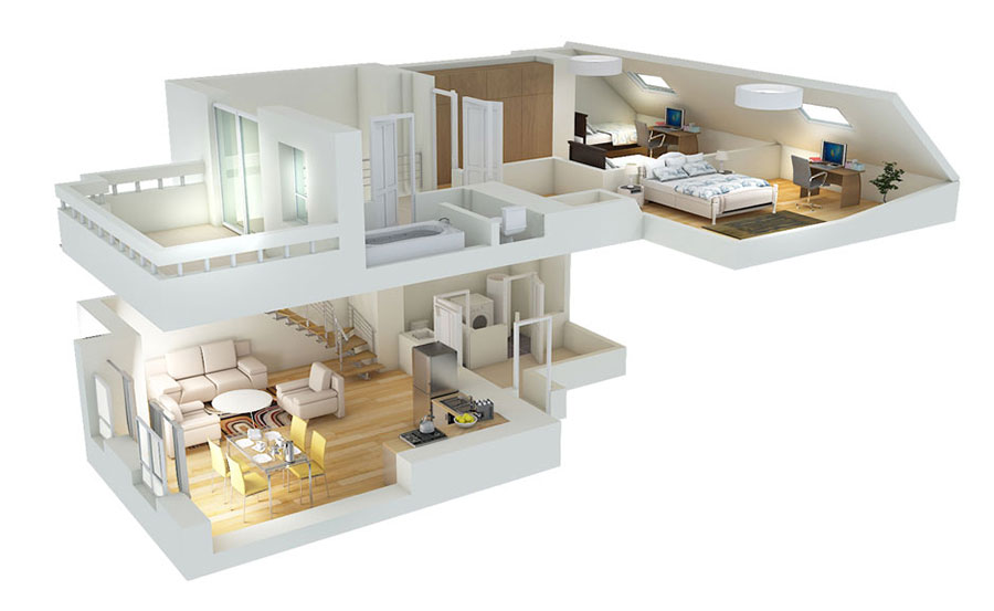 House plan 100 sqm with two-storey plant n.02