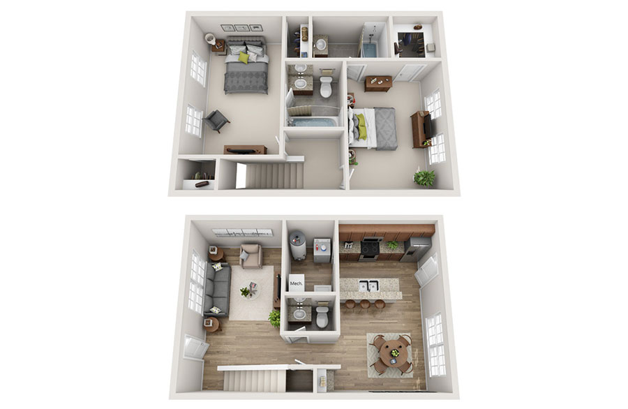House plan 100 sqm with two-storey plant n.01