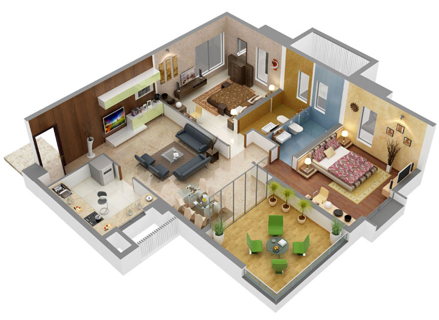 House plan 100 sqm with plant on one floor n.09