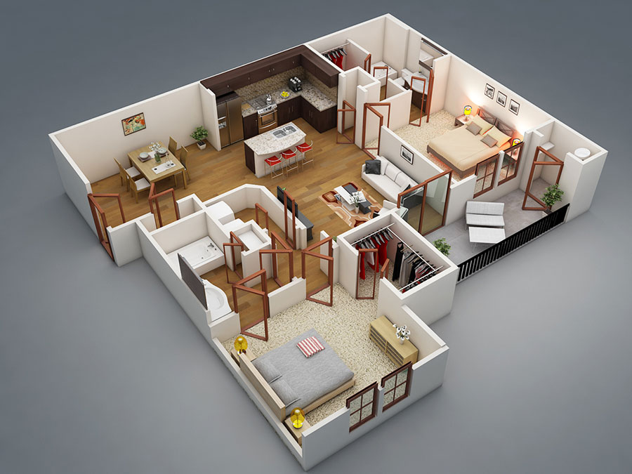 House plan 100 sqm with plant on one floor n.06