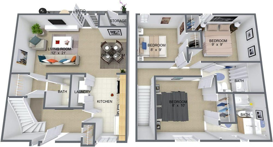 House plan 100 sqm with two-storey plant n.04