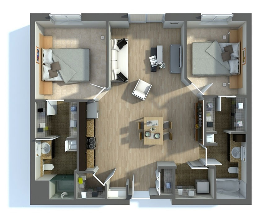 House plan 100 sqm with plan on one floor n.07