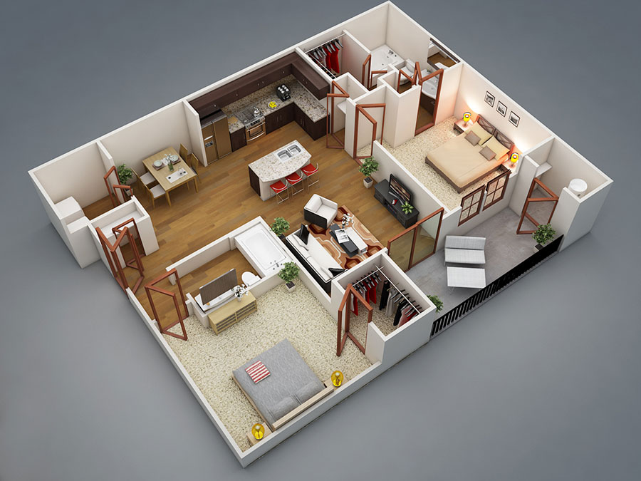 House plan 100 sqm with plant on one floor n.05