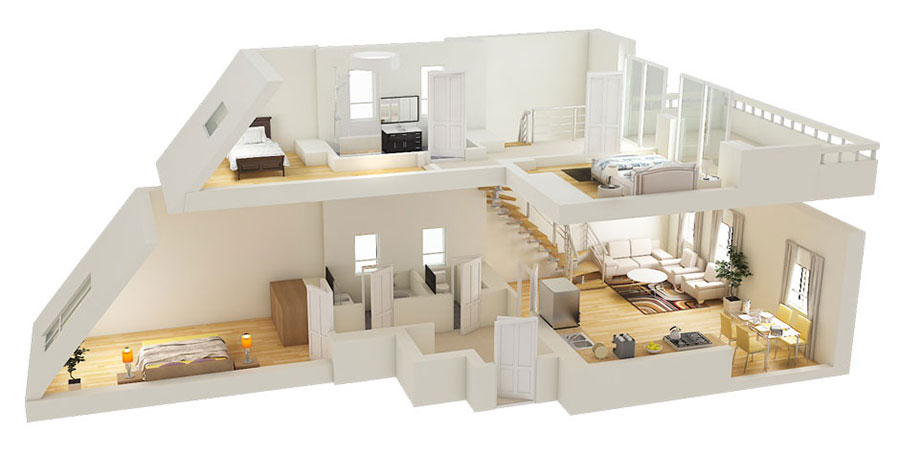 House plan 100 sqm with two-storey plant n.03