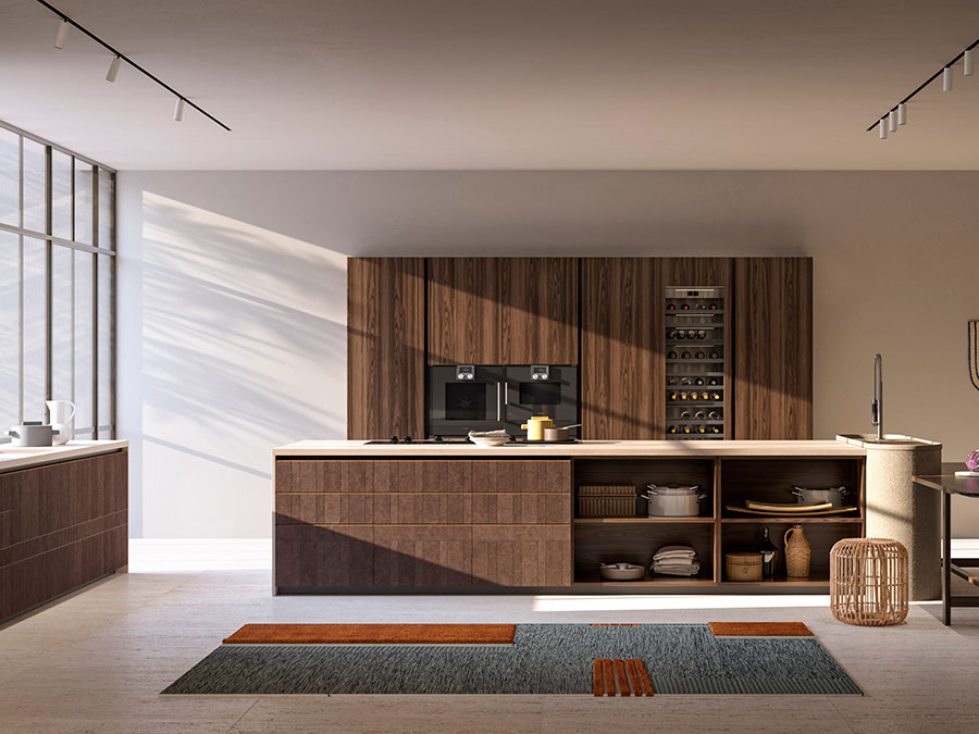 Beige and brown kitchen model # 01