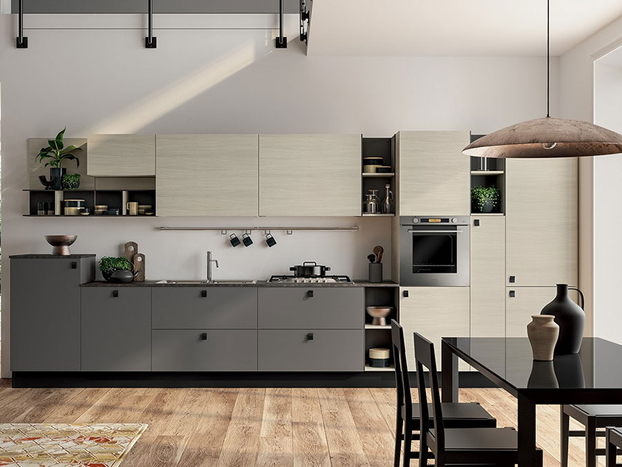 Beige and gray kitchen model # 01