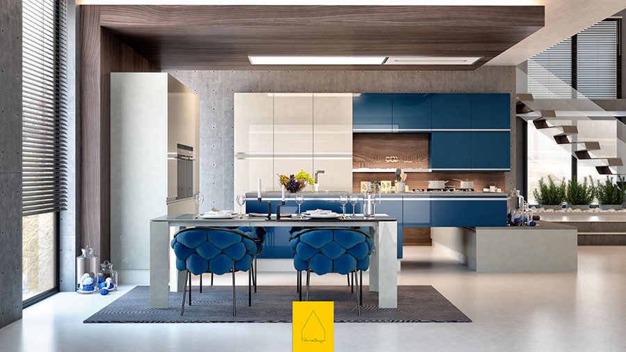 Ideas for decorating a blue kitchen n.01
