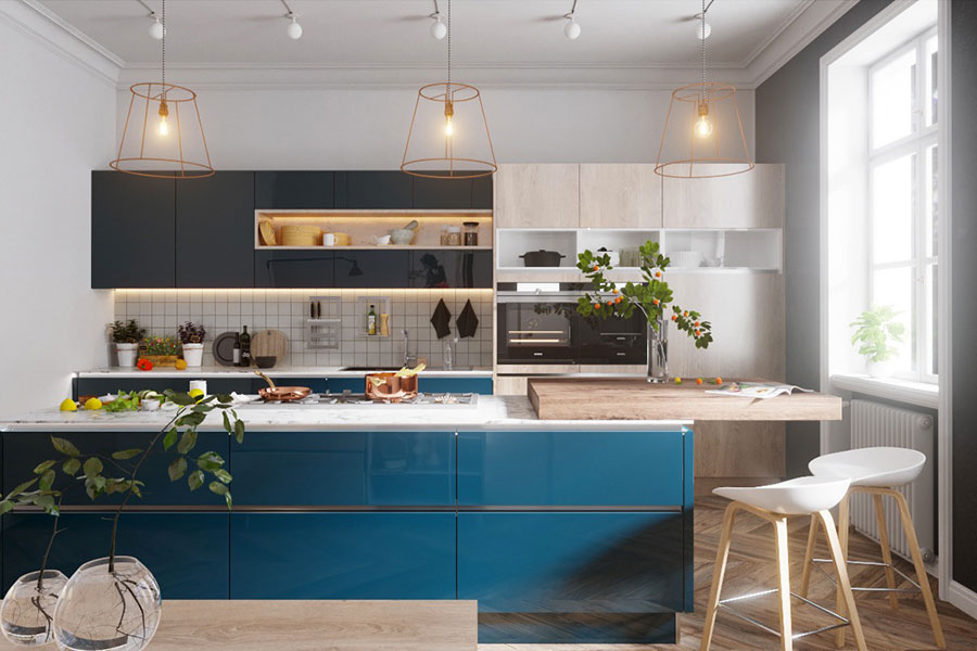 Ideas for decorating a blue kitchen n.04