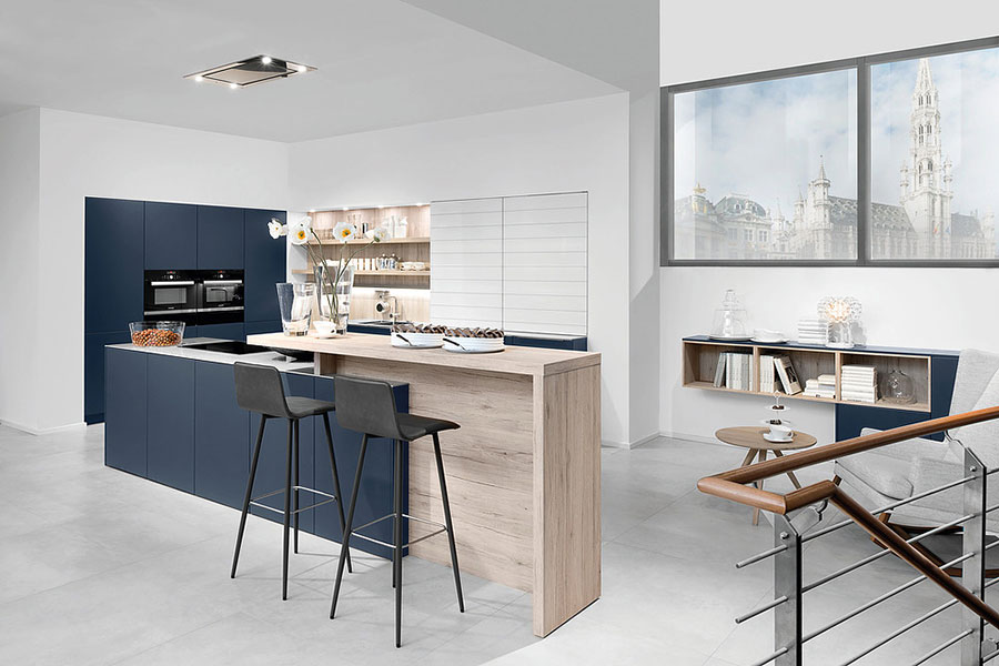 Blue and wood kitchen ideas n.06