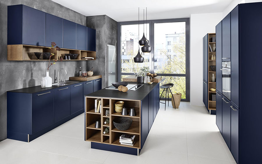 Blue and wood kitchen ideas n.02