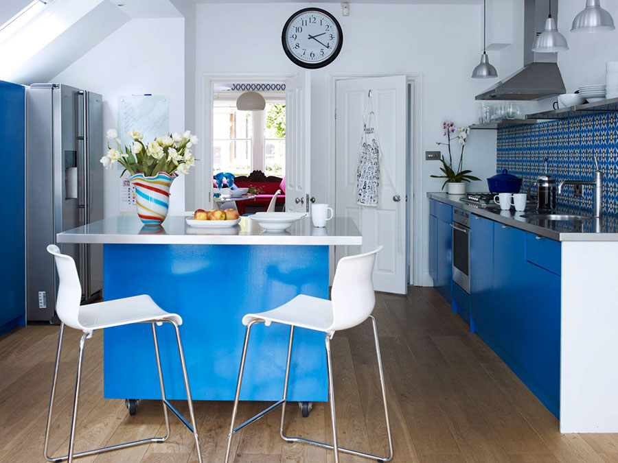 Ideas for decorating a blue kitchen n.08