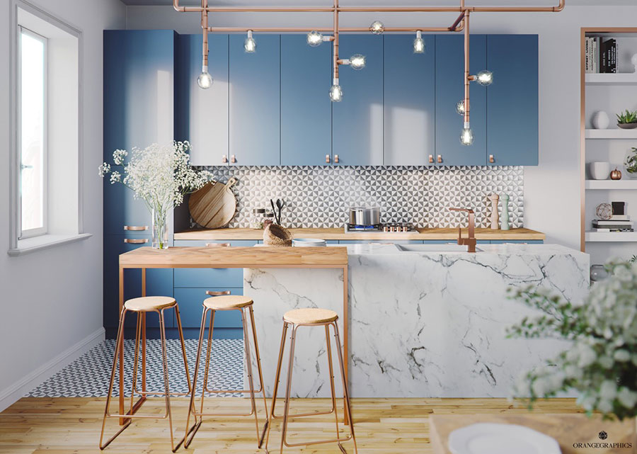 Ideas for decorating a blue kitchen n.03
