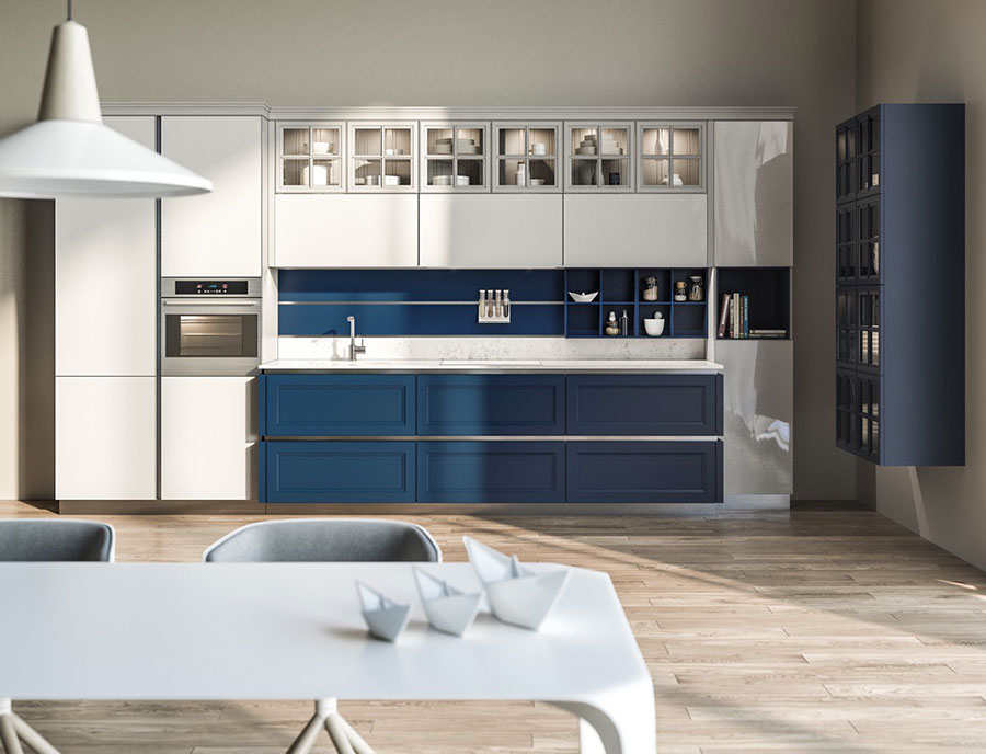 Ideas for decorating a blue kitchen n.16