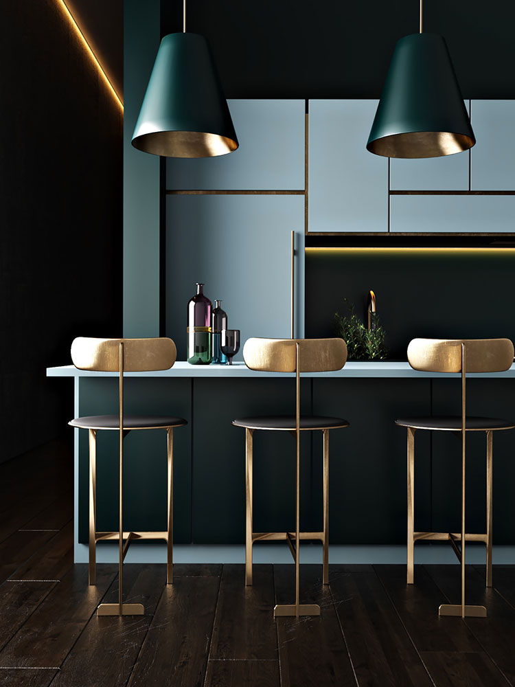 Ideas for decorating a blue kitchen n.11