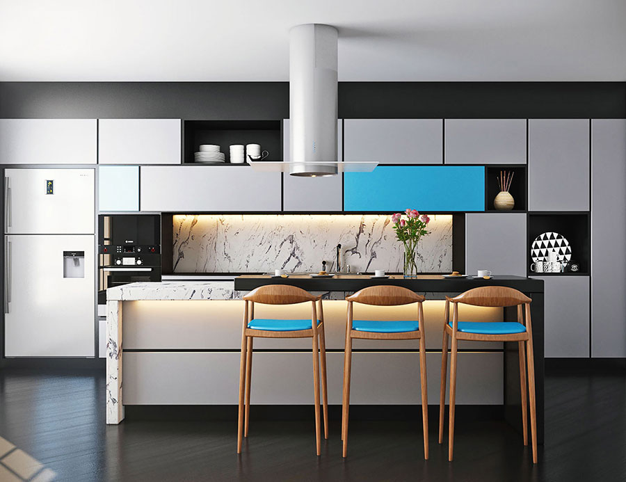 Ideas for decorating a blue kitchen n.21