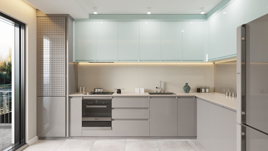 Ideas for decorating a blue kitchen n.13