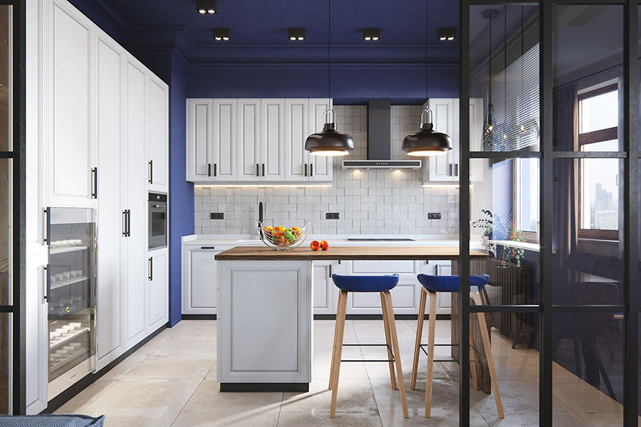 Ideas for decorating a blue kitchen n.22