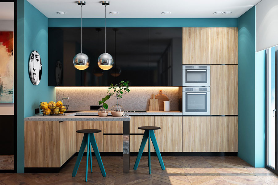 Ideas for decorating a blue kitchen n.23