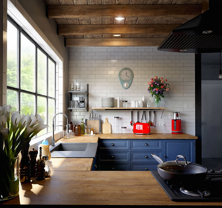 Ideas for decorating a blue kitchen n.17