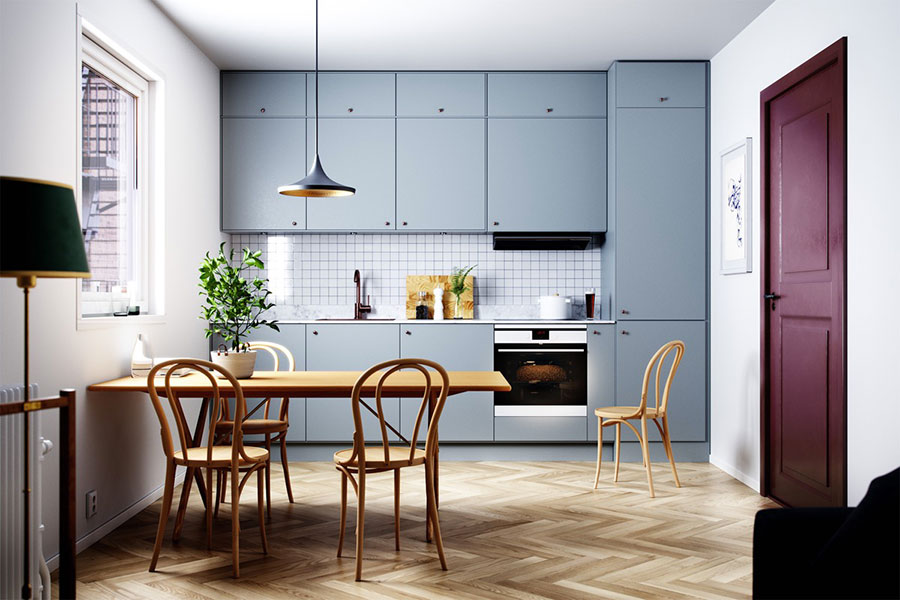 Ideas for decorating a blue kitchen n.10