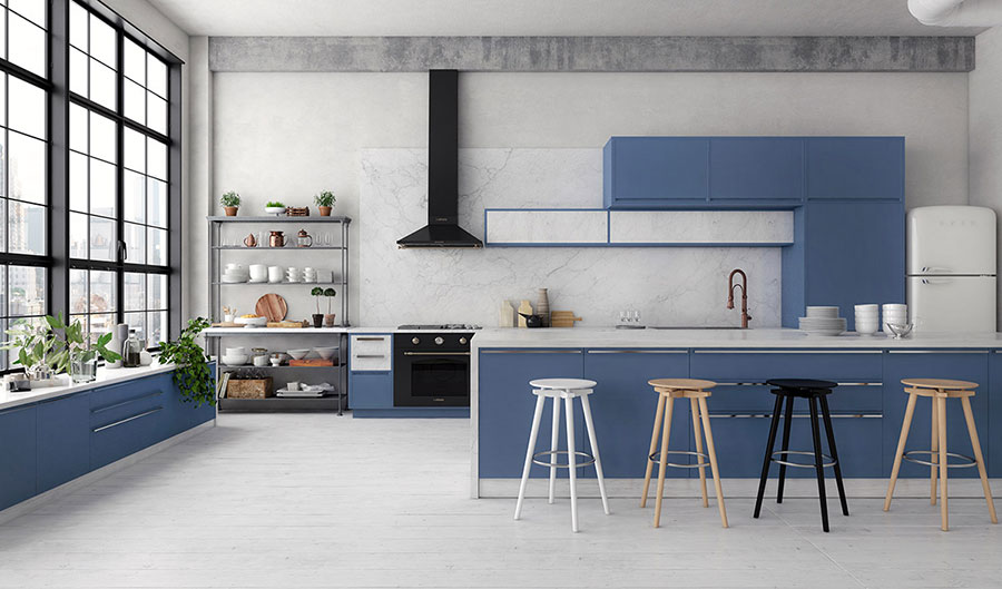 Ideas for decorating a blue kitchen # 15