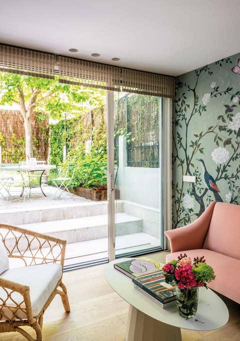 living room with access to the garden sliding door