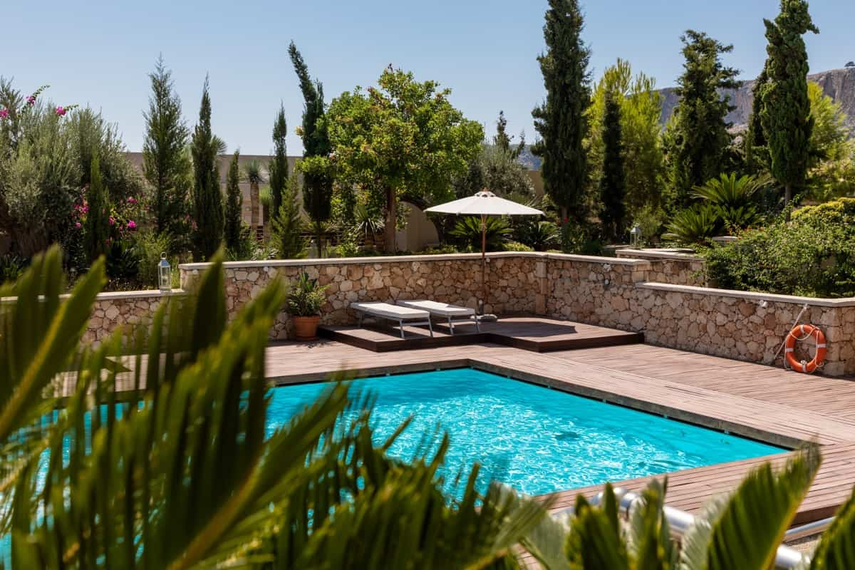 order on a terrace with a pool