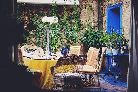 blue house by lucía bosé in brieva segovia dining room covered patio