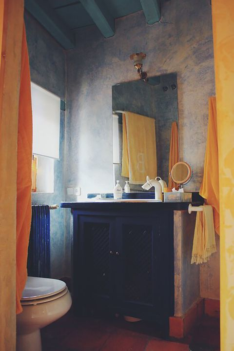 blue house of lucía bosé in brieva segovia rustic toilet