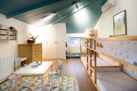 Nordic style children's room with bunk beds