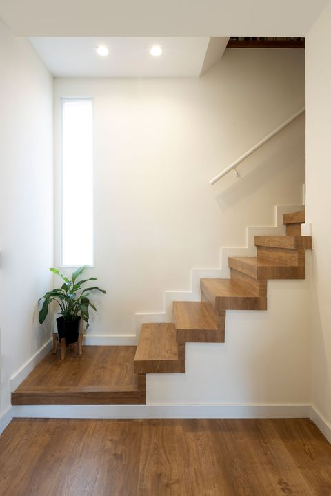 staircase with wooden steps