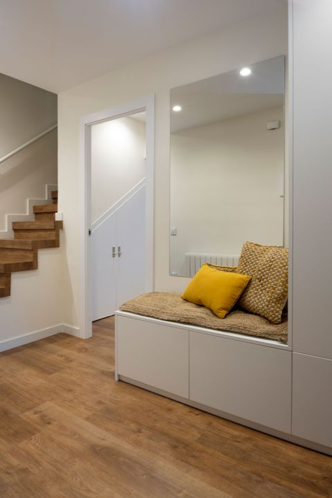 modern hall with wardrobe and shoe rack