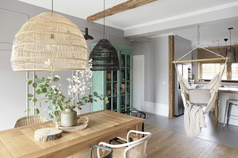 a nordic style country house dining room and kitchen