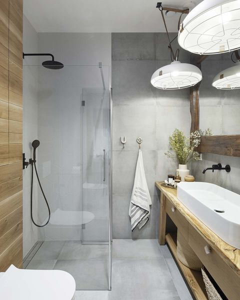 a nordic style country house bathroom with shower