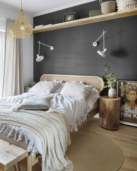 a nordic style country house master bedroom